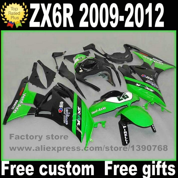 Настроить обтекатель комплект для Kawasaki запросу zx6r 2009 - 2012 ниндзя 636 зеленый черный обтекатели кузов комплект 7 подарки 09 10 11 12 TZ15