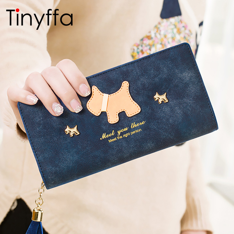 Tinyffa 2017 Vintage Cartoon Dog Women Wallets Female Nubuck Leather Wallet Zipper Design With Coin Purse Pockets Tassel Purse cartoon pokemon go purse pocket monster pikachu johnny turtle ibrahimovic zero wallets pen pencil bags boy girl leather wallet