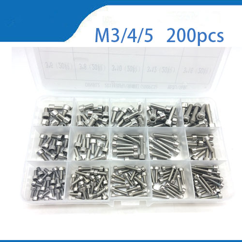 купить 200Pcs M3 M4 M5 M6 DIN912 304 Stainless Steel Hexagon Socket Head Cap Screws Hex Socket Screw Metric box-packed недорого