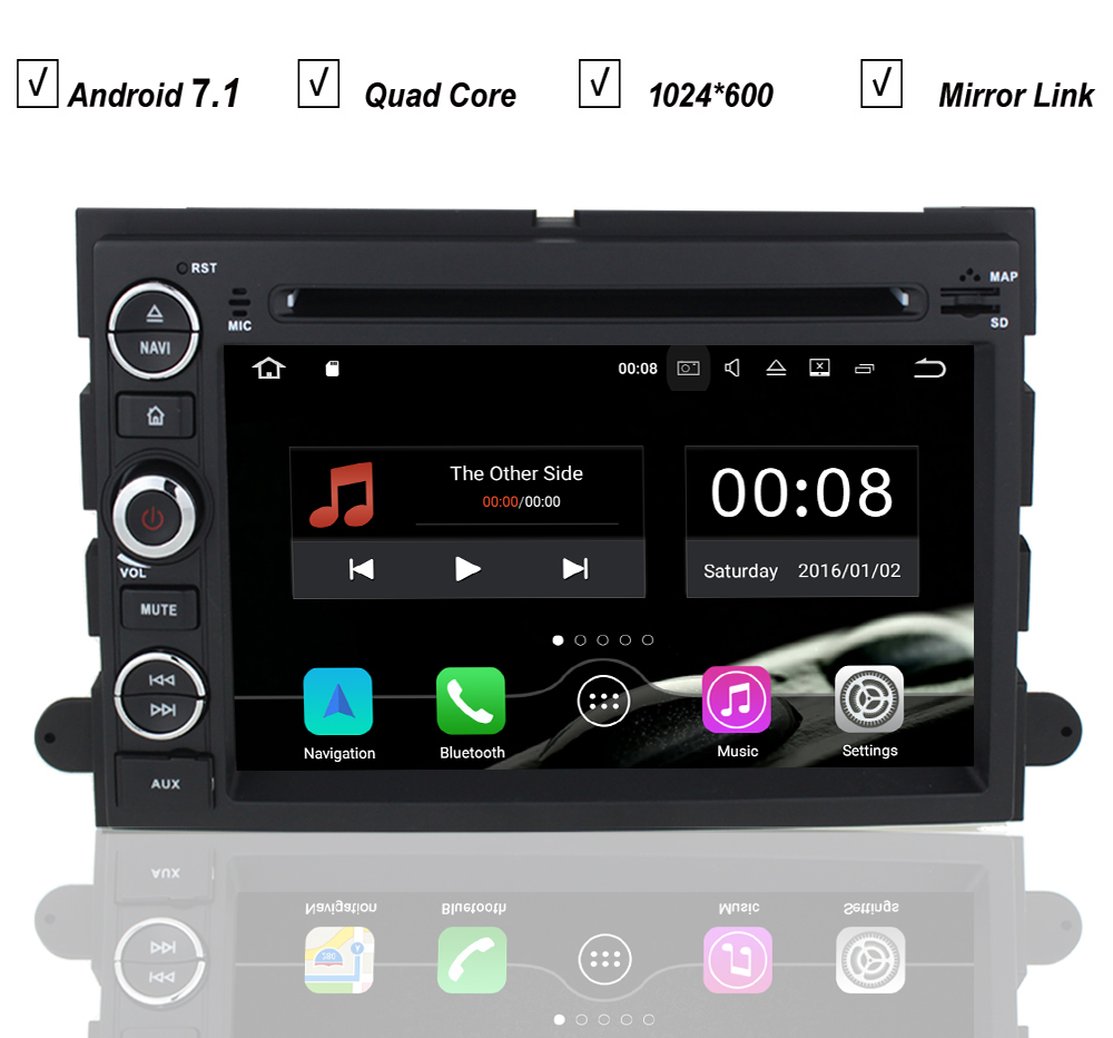Car android 7 1 dvd gps player for ford fusion explorer edge f150 f500 escape radio bluetooth