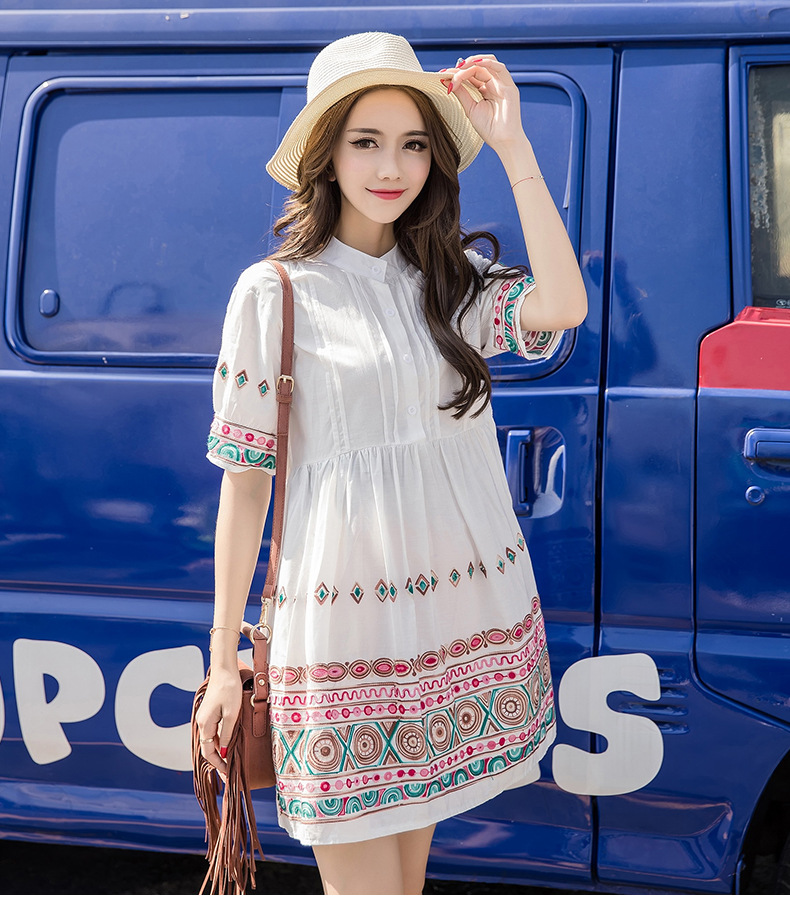 2018 summer new pregnant women dress white embroidered nursing dress loose casual large size