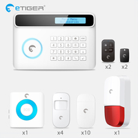 Chuangkesafe Smoke Fire Detector ETIGER GSM PSTN Wireless Wired Alarm System For Home Office Strobe Siren