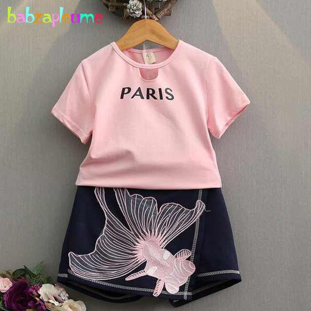 372d52b07 babzapleume 2-6years summer style baby girls outfit korean fashion clothing  pink t-shirt+skirt children clothes 2pcs suit BC1432