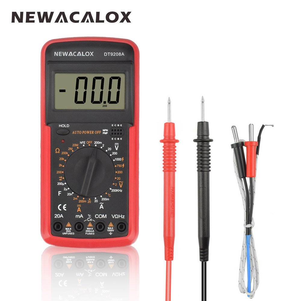 NEWACALOX LCD temperatura probador multímetro Digital AC/DC tensión de corriente resistencia de la capacitancia con la herramienta de medición de la batería