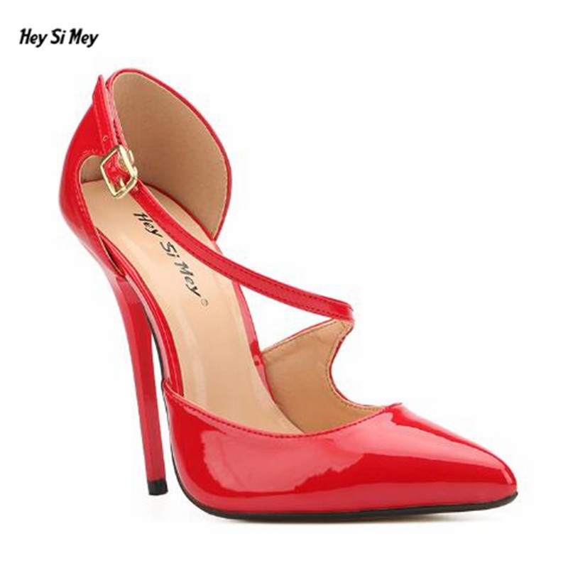 HSM Crossdresser Plus:40-45 46 47 48 49 Gold Bottoms 14cm thin heels sexy Sandals Patent Leather red Nightclub pumps women shoes blend