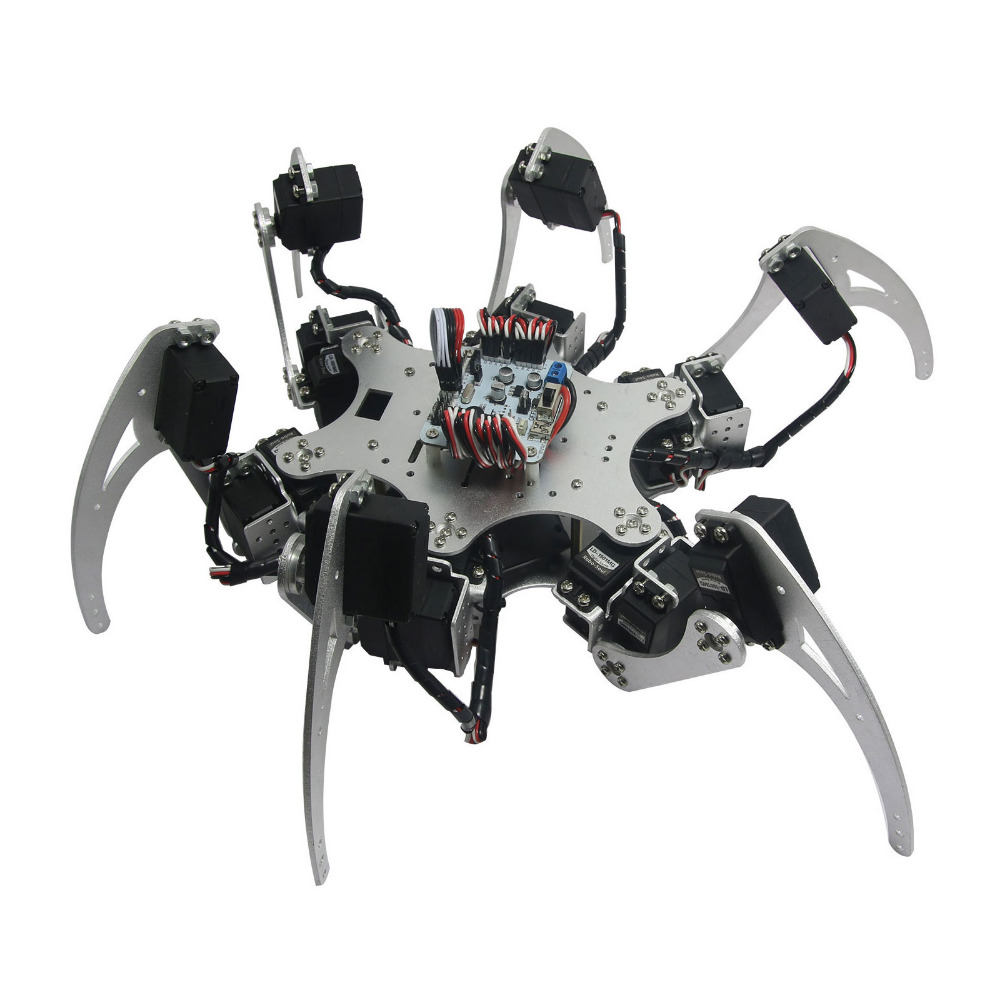 18DOF Aluminium Hexapod Spider Six Legs Robot Kit + 18pcs MG996R Servos + Controller Full Set for Arduino 18dof aluminium hexapod spider six legs robot kit w 18pcs mg996r servo