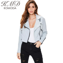 Kmd komoda 2017女性新しいファッション固体ジャケット秋毎日カジュアルオートバイジッパーストリートパンク短い女性のジャケット