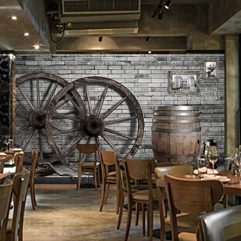 Bar Wallpaper: Vintage Wall Papers Bar Papel De Parede 3D Wood Wheel
