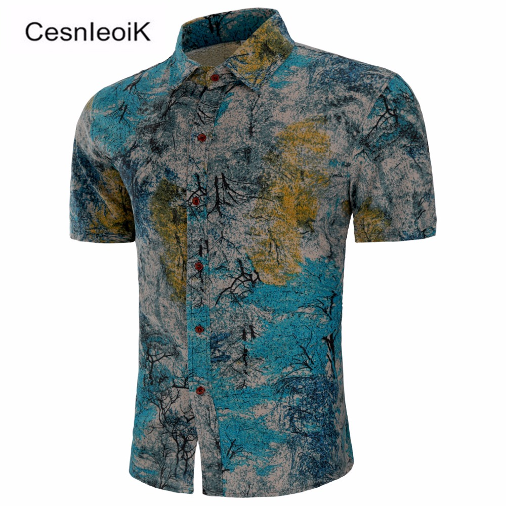 ff7305c829d New Summer Men s fashion brand Pattern leisure linen big yards short sleeve  shirts   Male National