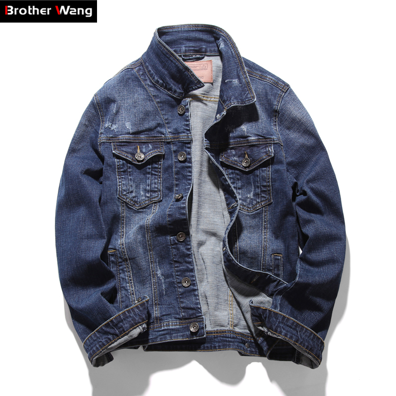 Brother Wang Brand 2019 Spring New Men's Denim Jacket Fashion Casual Lapel Slim Elasticity Cotton Denim Jacket Clothes Coat Male-in Jackets from Men's Clothing    1