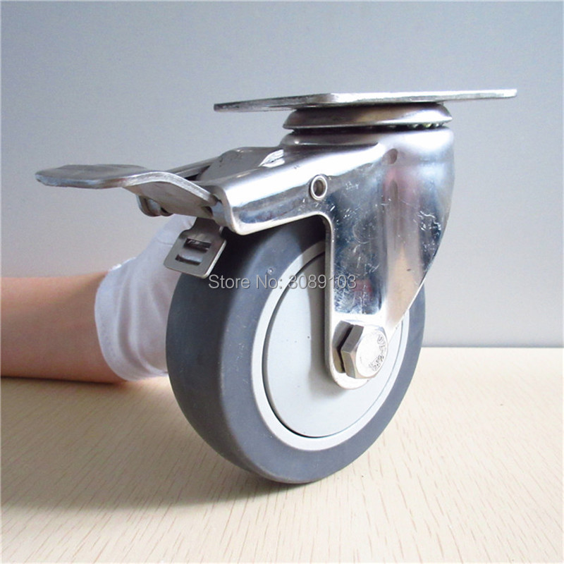 4 inch Factory price TPR caster wheel ball bearings stainless steel bracket swivel caster with brake