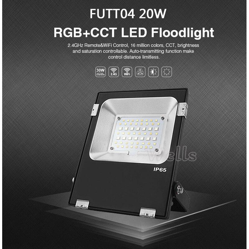 Milight FUTT05 LED Outdoor Lighting 10W/20W/30W/50W RGB+CCT IP65 Waterproof AC86-265V led Flood light For Garden