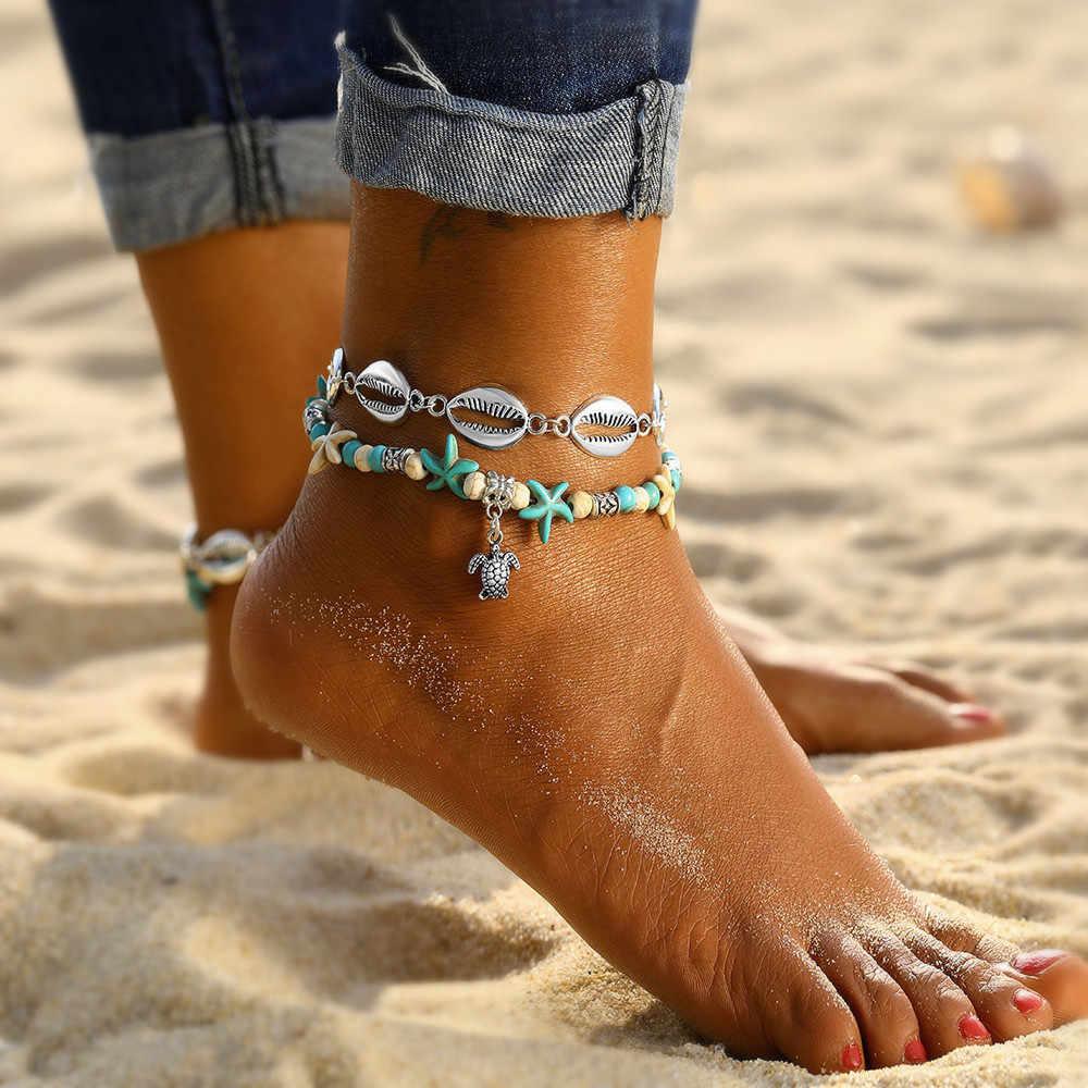 Прямая продажа с фабрики черепаха ножной браслет женский пляжный ножной браслет покрытый серебром богемный Черепаха Морская звезда Ретро Йога браслет на ногу женский