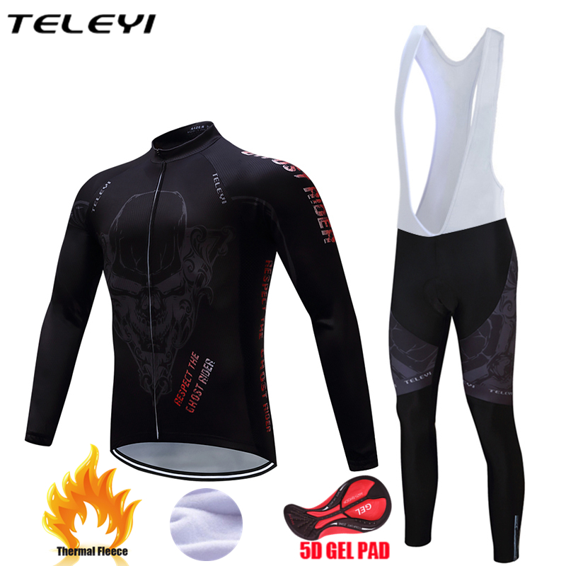 Teleyi 2017 Winter thermal fleece clothes cycling jersey bib pants MTB bicycle wear set ropa maillot ciclismo cycling long sets teleyi team cycling outfits mens ropa ciclismo long sleeve jersey bib pants kits bicycle jacket trousers set red black