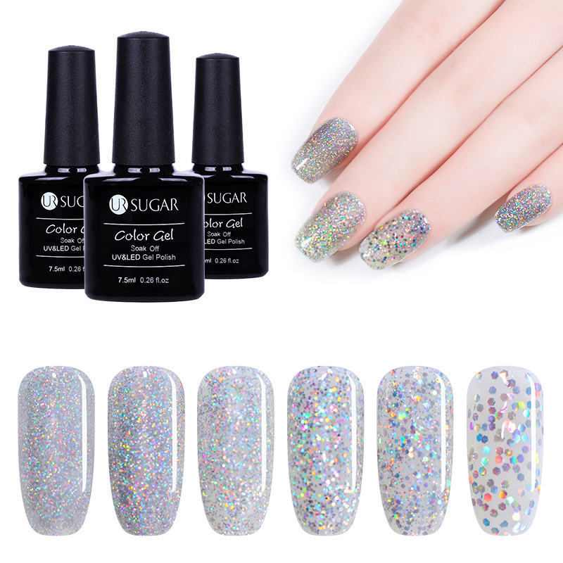 UR SUGAR 7.5ml Silver Holographic UV Gel Varnish Laser Sequins Sparkle Gel  Nail Polish Soak Off Nail Art Lacquer-in Nail Gel from Beauty   Health on  ... 1b1d27e930e5