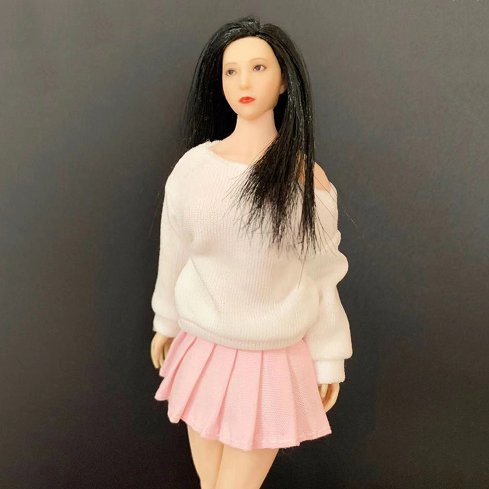 Collectible 1/12 Female Figure Accessory White Long Sleeve t-Shirt & Pink Pleated Skirt Model for 12 Action Figure BodyCollectible 1/12 Female Figure Accessory White Long Sleeve t-Shirt & Pink Pleated Skirt Model for 12 Action Figure Body