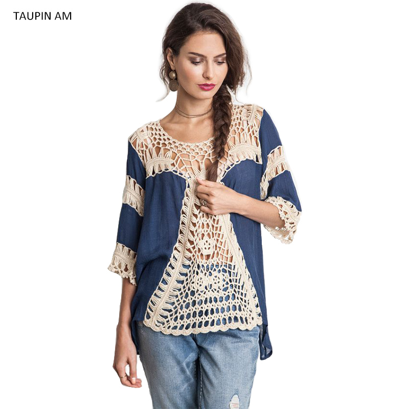 Hollow out loose crochet clothing for women Summer beach style linen blouses o neck half sleeve ethnic blouse chemise TA7ZY1616