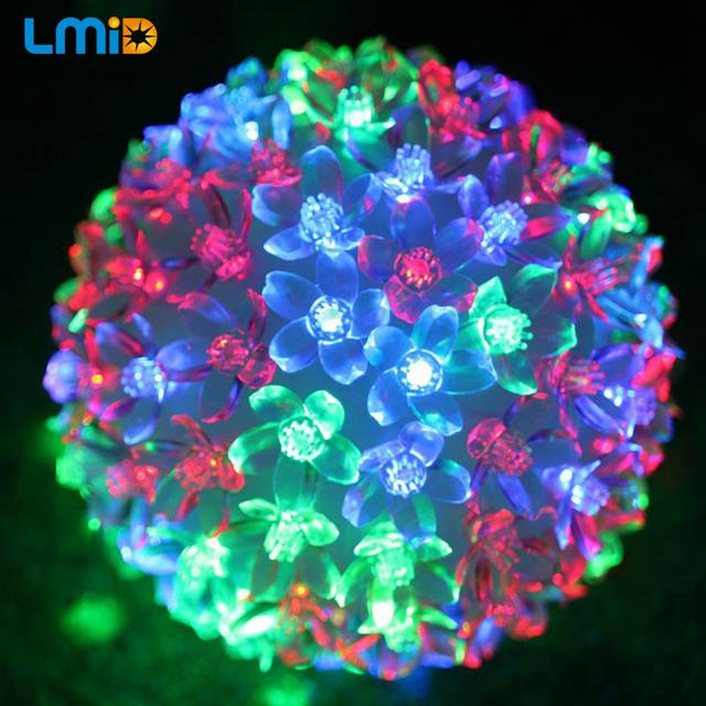 holiday lighting ac220v outdoor garden lamp waterproof multicolor 5m 50 led ball light party garland decoration - Multicolor Christmas Lights