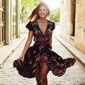 2016 Del Verano de Boho Étnico Vestido Sexy de Impresión Retro Vestido de la Playa Vestido de La Borla de La Vendimia Hippie Bohemain Vestido Túnica Vestidos Mujer LX4