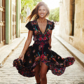 2016 Summer Boho Dress Ethnic Sexy Print Retro Vintage Dress Tassel Beach Dress Bohemain Hippie Dress Robe Vestidos Mujer LX4
