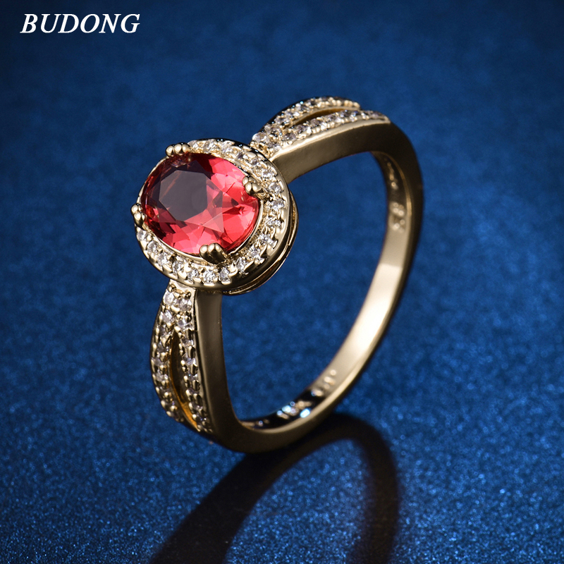 BUDONG New arrival Halo Ladies Finger Band Infinity Gold-Color Ring for Women Oval Rose Crystal Zircon Engagement Jewelry XR342