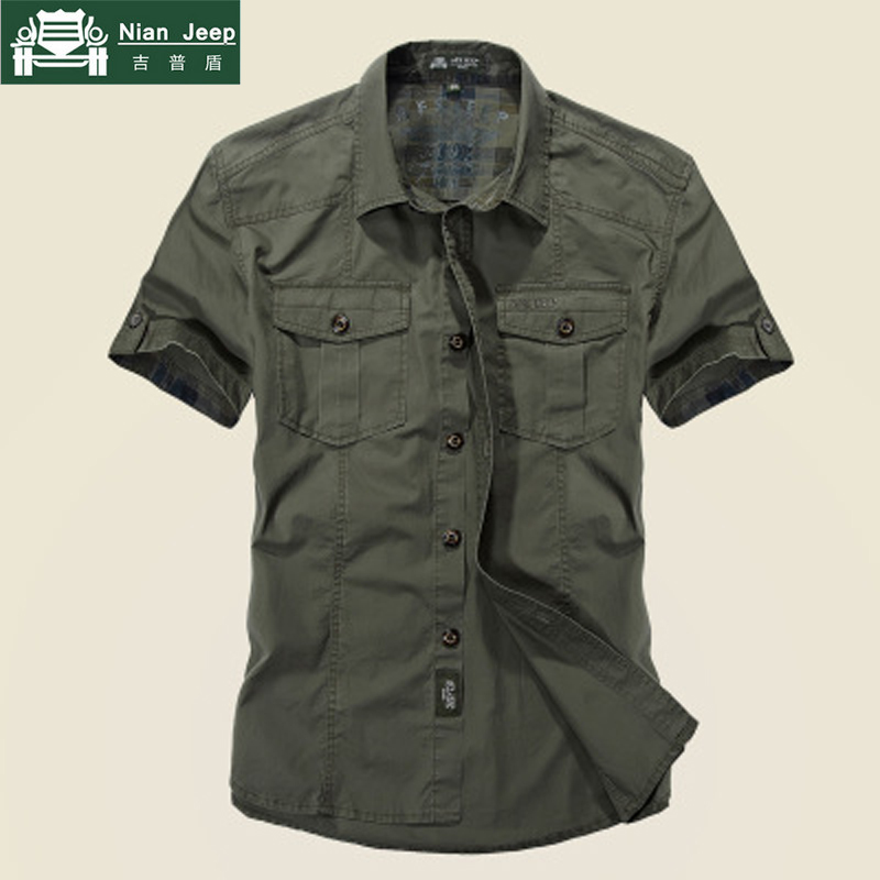 NIANJEEP Short Sleeves Shirts Men 2020 Summer Brand Cotton Breathable Solid Military Men's Shirt Size M-3XL Camiseta Masculina