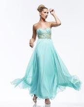 2015 New Prom Kleider Elegante Schatz A-line Bodenlangen Chiffon Kleid Lange Backless Abend-formale Kleid Kristalle F689