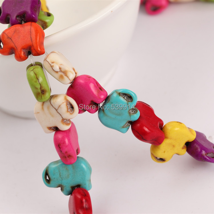 11x15mm Colorful Howlite Elephant Beads Synthetic Stone Beads Charms Spacer Bead Handcrafts