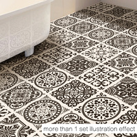50x50cm New INS black and white style floor stickers bathroom bathroom bedroom living room home decoration