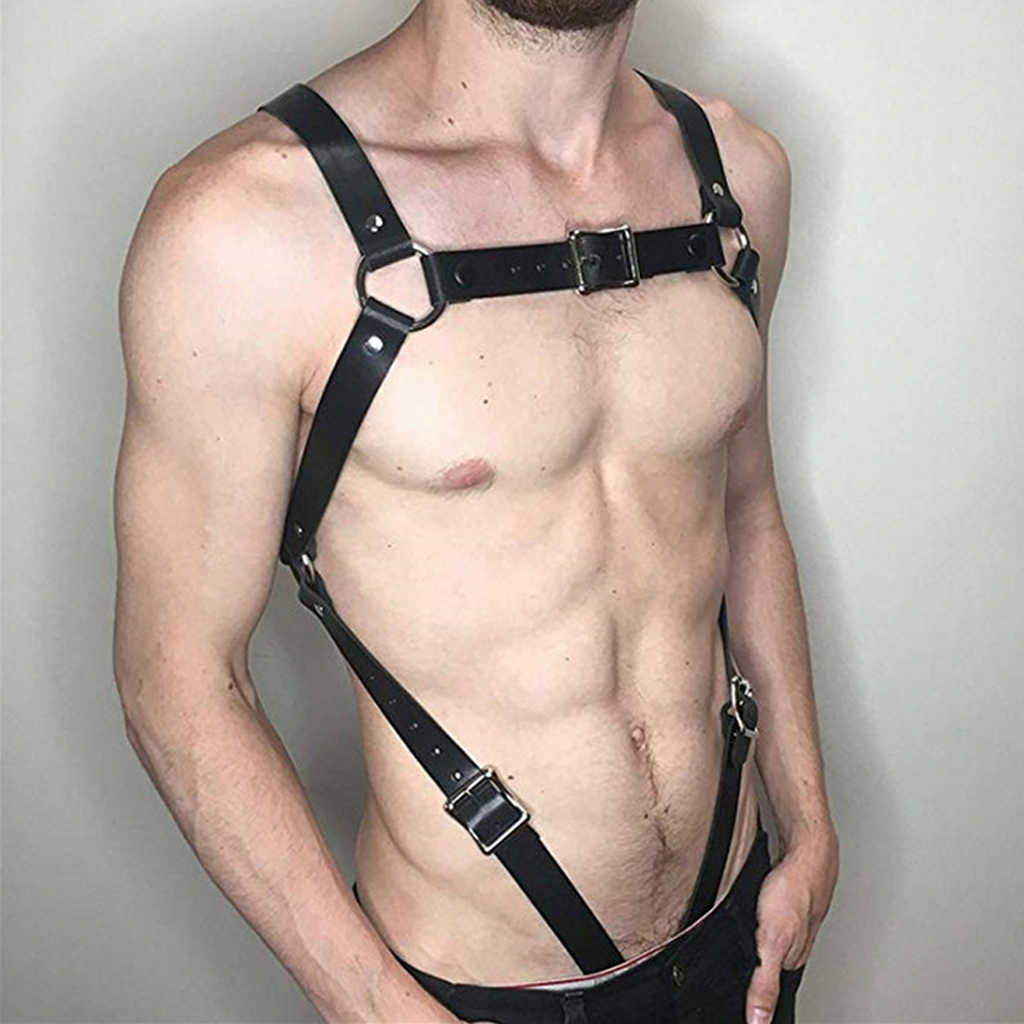 Men PU Leather Restrain Chest Strap Harness Hen Clubwear Costume Fancy Dress