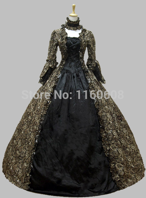 Georgian Victorian Gothic Period Dress Vintage Gown Period Reenactment Theatre Clothing Stage Dress Stage Ball Gown
