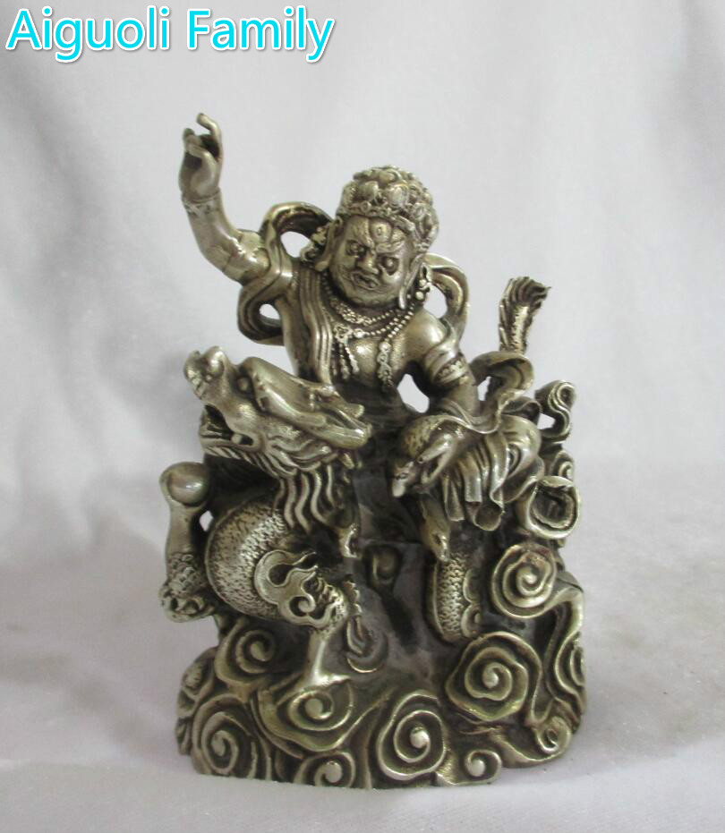 Collectible Decorated Old Handwork Tibet Silver Carved  Statue/ Buddhism Sculpture 008Collectible Decorated Old Handwork Tibet Silver Carved  Statue/ Buddhism Sculpture 008