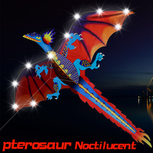 LED 140cm / 55inches Stereo Pterosaur NoctilucentKite Dragon Kites With Handle & Line Good Flying Gift