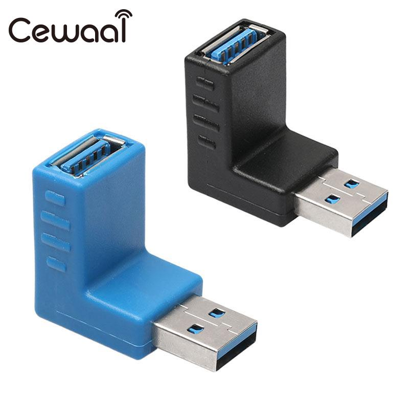 CEWAAL 90 degree USB 3.0 A Male to Female Left Right Up Down Angle Adapter for laptop PC Computer new 2pcs female right left vivid foot mannequin jewerly display model art sketch