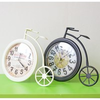 Creative Home Decor Wall Clock Retro Bicycle Design Iron Craft Hanging Wall Clocks Decor Handicraft Furnishing Articles
