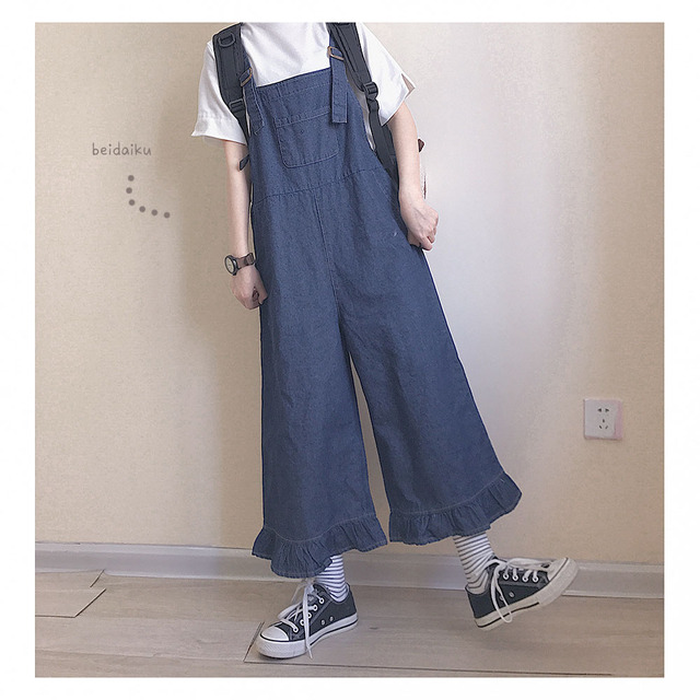 42a7a54f5d8 Japanese Big Size Denim Overalls Jumpsuit Women Casual Ruffle Solid Wide  Leg Pants Retro Strapless Playsuits