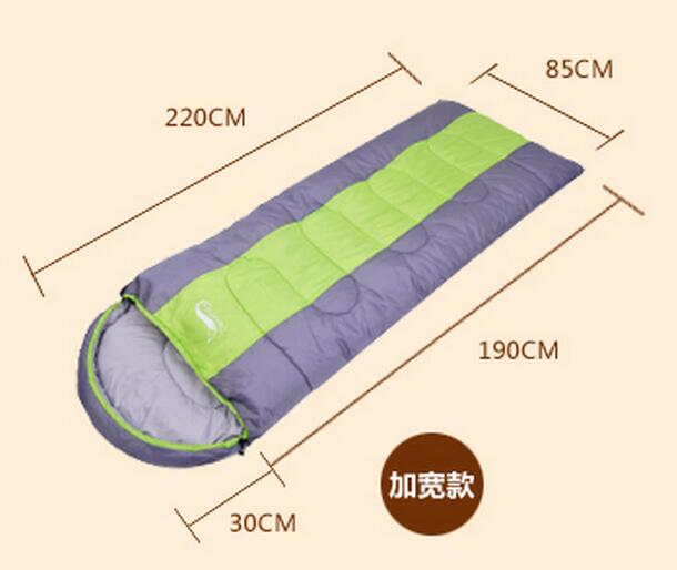 High quality 210T anti tear Grid cloth widen thicken sleeping bags for Camping & Hiking