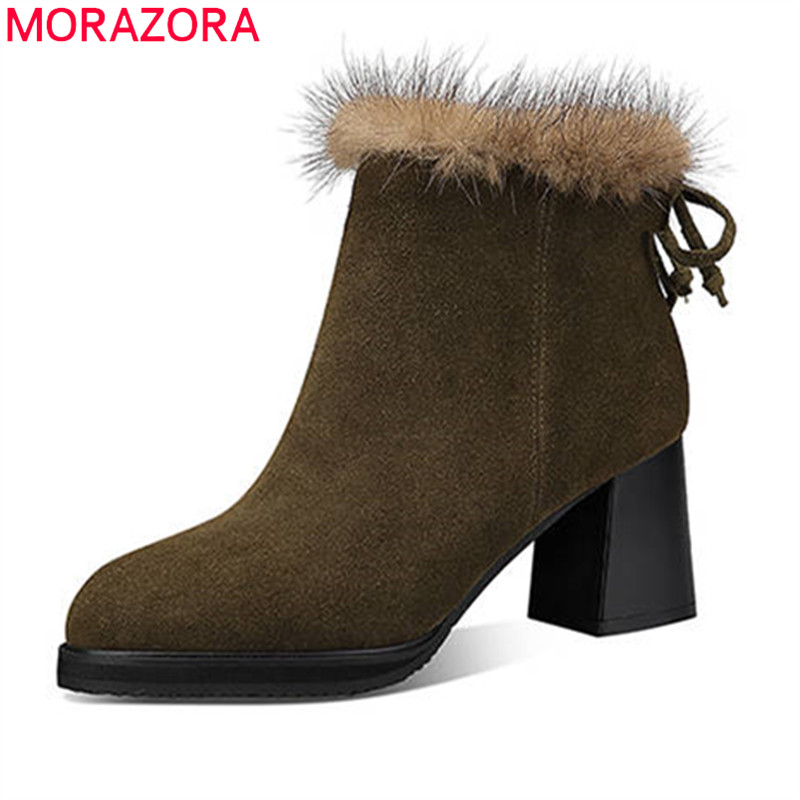MORAZORA 2018 new arrival suede leather boots ladies round toe ankle boots zipper autumn winter boots women high heels shoes 2018 new arrival genuine leather zipper runway autumn winter boots round toe high heels keep warm elegant women ankle boots l29