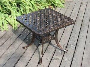 Image 2 - יצוק אלומיניום קפה שולחן עבור גן פנאי חיצוני ריהוט ריהוט גן חיצוני שולחן