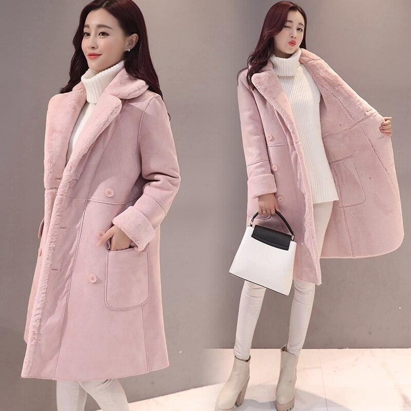 2017 Autumn Winter Jacket Women Thick Warm Large Lapel Outwear Parkas Lamb Wool Down Cotton Long Cashmere Coat Women XL