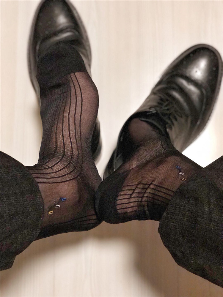 Ultra Thin Silk Socks Mens Formal Dress Suit Socks Sexy Sheer Transparent Socks for Man Male Socks High Quality Socks