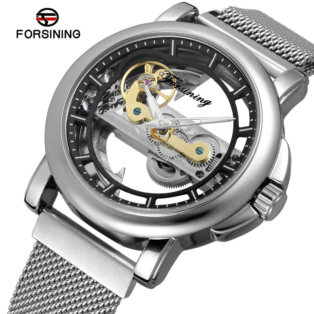 FORSINING Men s 2018 Genuine Automatic Mechanical Watches Full Stainless Steel Watch Fashion Watch Male Relogios