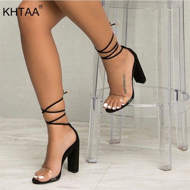 קיץ נשים גבוהה עקבים נעלי T-שלב שקוף סנדלי סקסי כיכר העקב משאבת נשי כיסוי העקב מסיבת חתונה גבירותיי בתוספת גודל