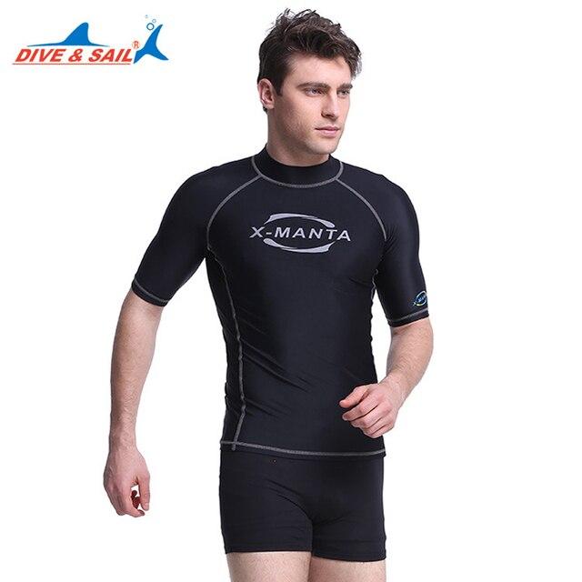 b786e70e31 Men's Short Sleeve Rash Guard Shirt Mens Swimming T-Shirt Swimwear  Wakeboard Tops Floatsuit UV Rashguard Surfing Clothes 3XL J