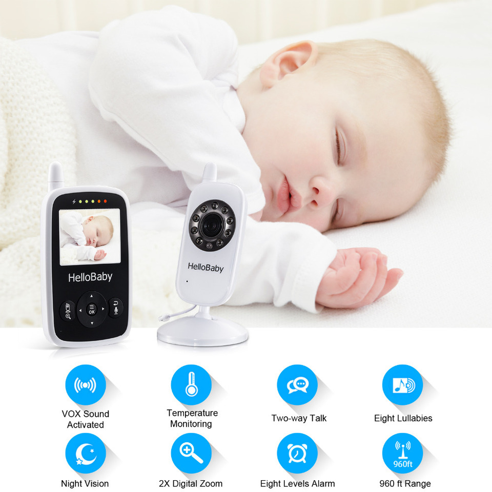 Infrared Night Vision HelloBaby Video Baby Monitor with LCD Display Two-Way Audio and Room Temperature Monitoring,Lullaby and Support Multi Cameras,Sound Activated Screen/…