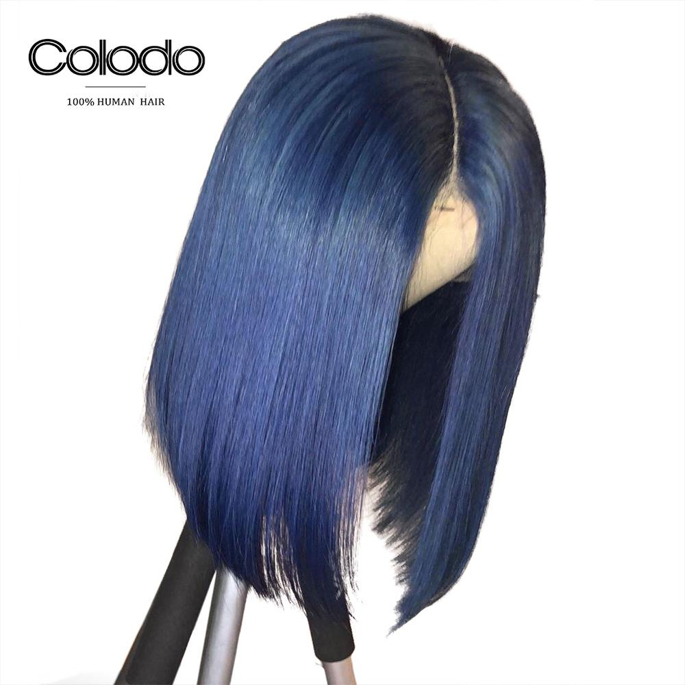 Colodo Dark Blue Colored 13*4 Lace Frontal Remy Human Hair Wigs 150% Density Pre Plucked Short Bob Straight Wig With Baby Hair Extremely Efficient In Preserving Heat