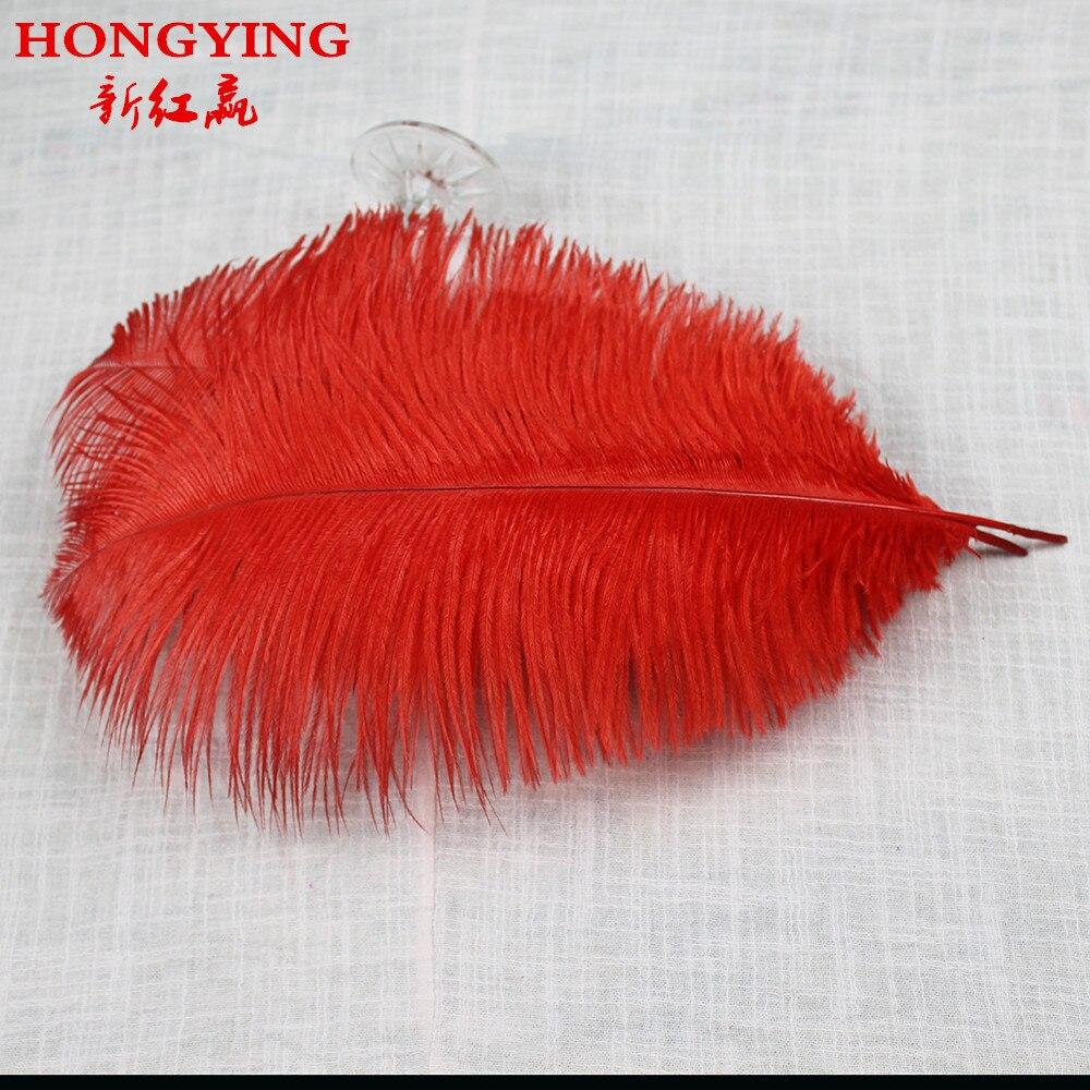 červené pštrosí peří 50ks / lot35-40CM / 14-16inches pštrosí peří Svatební festival výkon oblečení oděvy pokrývky hlavy dekorace peří