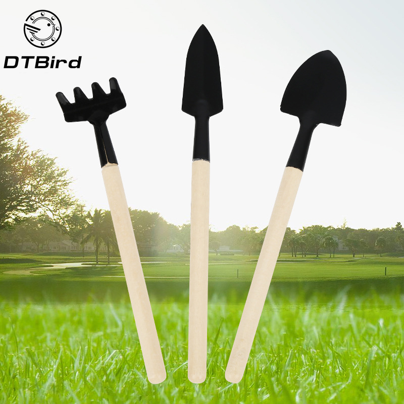 3pcs Mini Shovel Rake Set Mini Garden Tool Bonsai Tools Set Wooden Handle Metal Head Shovel For Flowers Potted Plants    DT6