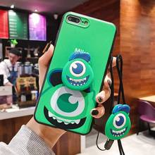 3D Cartoon Big eye Sulley Mike Phone Case For iPhone 8 7 6 6s Plus X XS Max XR Soft Silicone DIY Lanyard Cover