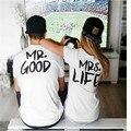 Женщины Топы Г-Н. GOOD & MRS. LIFE Печати Письмо За Пары Хлопок Футболка Творческий Коротким Рукавом Женщины футболка плюс Размер